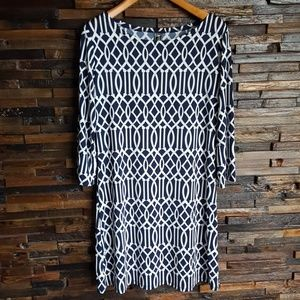 MT Collection navy and white pattern dress